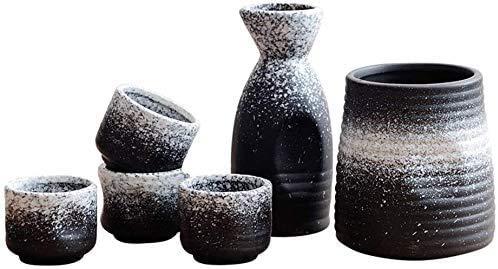Gaojian Dispensador de Vino, de cerámica Fija Tradicionales Sake Mini japoneses con la porción del Motivo de la Botella, Botella de Sake, 4 Sake Copa y Calentador