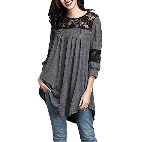 BHYDRY Camisa de Calado de Encaje Casual para Mujer Camiseta de Manga Tres Cuartos Tops Blusa de Manga Larga con Cuello Redondo Camiseta