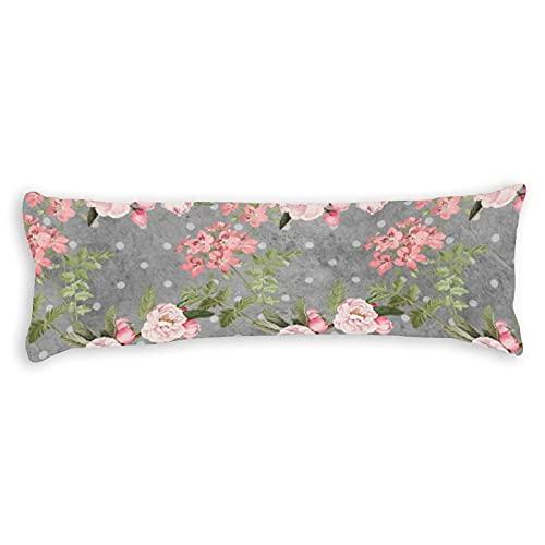 Promini Funda de almohada para el cuerpo, color gris, con cierre de cremallera oculto, para sofá, banco, cama, decoración del hogar, 50,8 x 137,2 cm