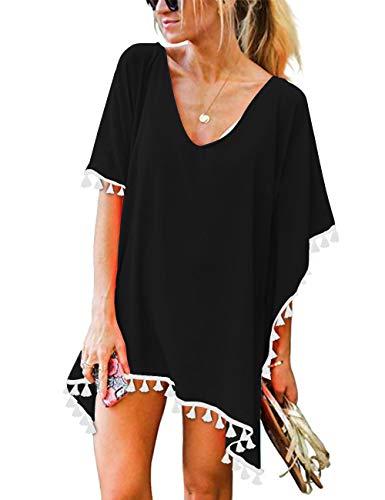 CPOKRTWSO Women's Crochet Chiffon Tassel Swimsuit Beach Bikini Cover Ups for Swimwear Black L/XL