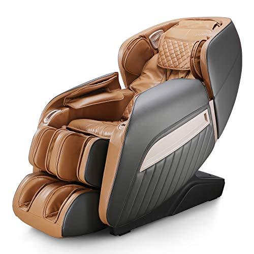 Naipo Massagesessel Shiatsu Massagestuhl elektrisch für den Ganzkörper mit Wärmefunktion, Schwerelosigkeit, Luftdruckmassage, USB, Bluetooth, Massagesitz Relaxsessel Für Zuhause/Büro, Braun