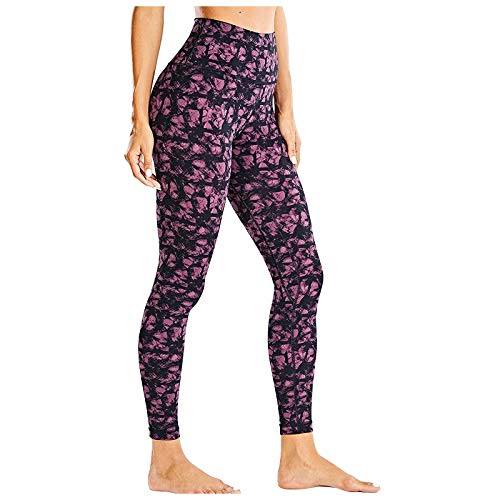 Rickitrty Patterned High Waist Yoga Pants Leggings for Women Tummy Control Yoga Tights Running Athletic Workout Pants Pink