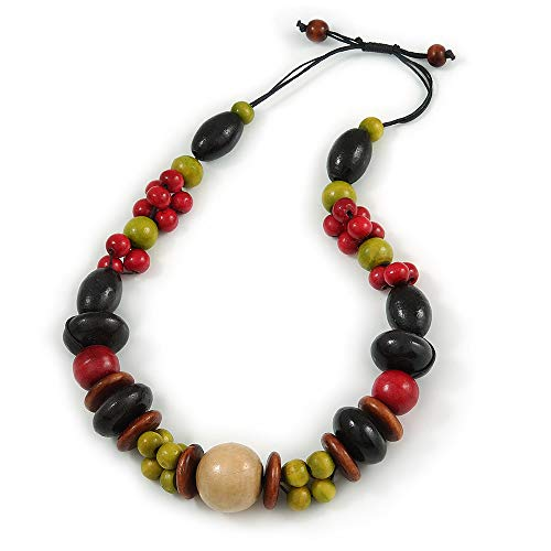 Avalaya Chunky Multicoloured Wood Bead Cotton Cord Necklace - 60cm L