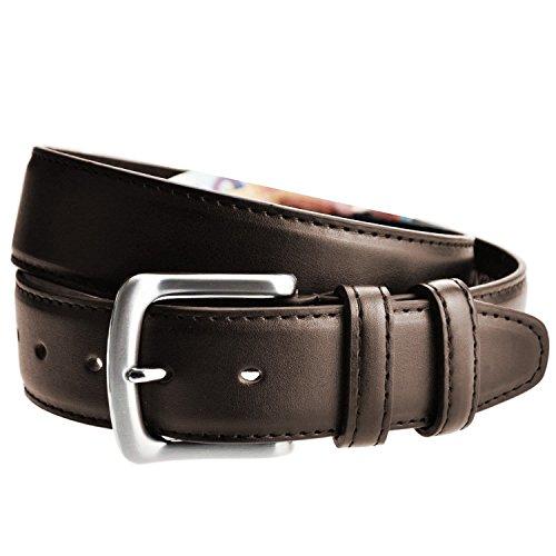 LIVAN -L0040- ceinture cache billet à fermeture éclaire zip longue doublé en cuir TU105 cm Homme Marron foncé