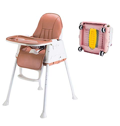 SYGA High Chair for Baby Kids, Safety Toddler Feeding Booster Seat Dining Table Chair (with Wheel and Cushion, Brown)