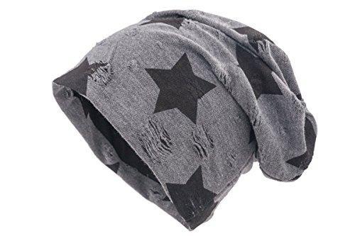 shenky - Gorro caído - Ideal para la pérdida de Cabello y Durante un Tratamiento - Carbón Envejecido y Estrella