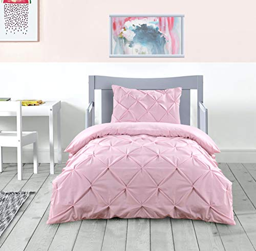 K&A Pintuck Pinch Pleat Single Bed Duvet Cover Set including Pillow Case with Zipper Closure, Easy Care Machine Washable, Poly-Cotton Blend (Single - 137 x 200 CM, Pink)