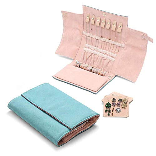 DZX Small Travel Jewelry Roll Organizer,PU Leather Foldable Jewelry Case Bag,Portable Earring Ring Necklace Watch Storage Case Green 20.5 * 2 * 15cm