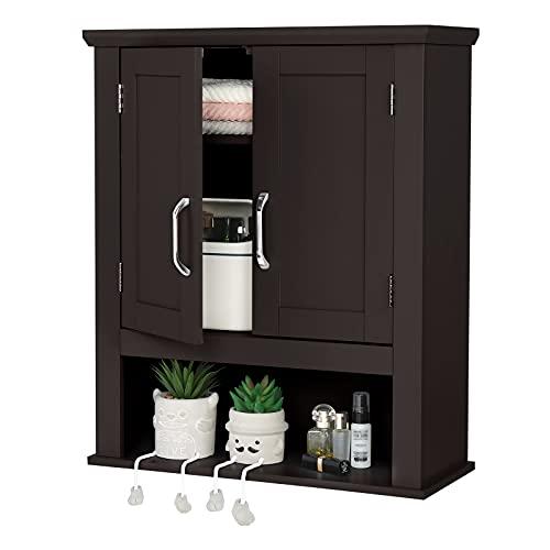 VINGLI Medicine Cabinet Bathroom Kitchen Office Wall Storage Cabinet Collection Floating Cabinet Orgaznier 2-Door Wall Cabinet Espresso