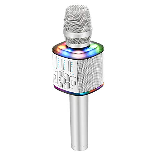 BONAOK 2020 Wireless Bluetooth Karaoke Microphone, Magic Voice Portable Handheld Mic Speaker Machine Home Party Birthday Presentations for iPhone/Android/iPad/Sony/PC/All Smartphones(Silver)