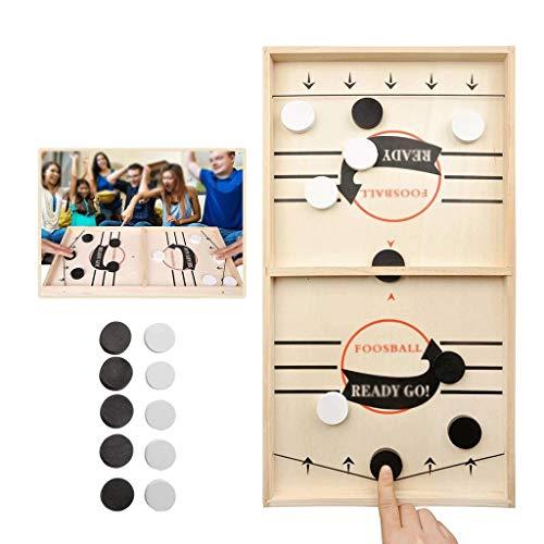 YYL Schnelles Sling Puck Spiel Tischfußball-Brettspiel, Holztisch Desktop Gewinner Desktop Sport Brettspiele, Familienspielabendspaß für Erwachsene und Kinder