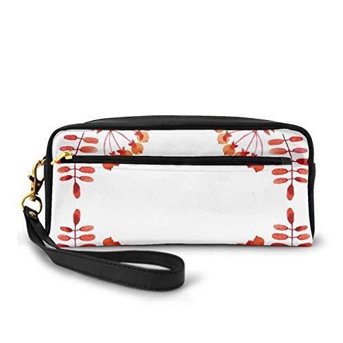 Estuche de piel sintética pequeña,Acuarela estilo hojas artísticas con frutas diseño de marco cuadrado colores otoño,Bolsa de maquillaje bolsa