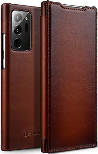 StilGut Book Hülle kompatibel mit Samsung Galaxy Note 20 Ultra Hülle aus Leder zum Klappen, Klapphülle, Handyhülle, Lederhülle - Cognac Antik