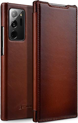 StilGut Book Case kompatibel mit Samsung Galaxy Note 20 Ultra Hülle aus Leder zum Klappen, Klapphülle, Handyhülle, Lederhülle - Cognac Antik
