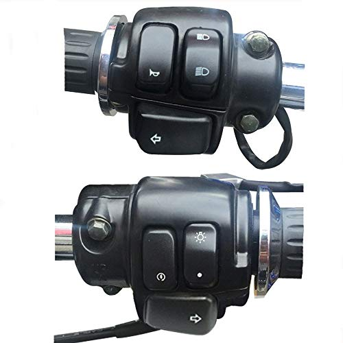 ZHOUYANJUN El Interruptor de Control de Aluminio del Manillar de la Motocicleta de 1'de 25 mm Mata el Interruptor de Arranque con el botón de Parpadeo del arnés de cableado (Color : Black)
