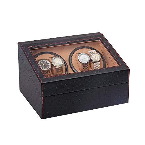 AMAFS Caja enrolladora automática de Reloj, Cuero sintético sintético, Almohadas Suaves para Relojes, Motor Extremadamente silencioso, Vitrina de Almacenamiento para 10 Relojes Beautiful Home