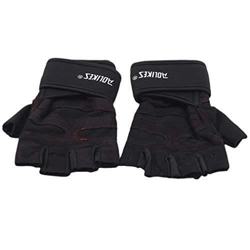 ZYYXB 1 par de guantes de gimnasio de levantamiento de pesas de medio dedo de apoyo de muñeca correas de resistencia a la fricción guantes de ciclismo deportes fitness, negro y rojo línea L
