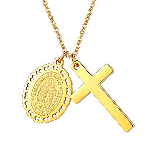 FaithHeart Damen Halskette mit Kreuz Anhänger Amulett Kette 18K Gold Saint Maria Schmuck Religiöse Oval Charm