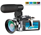 4K Camcorder,Ansteker 48MP 30FPS Ultra HD WiFi Video Camera IR Night...