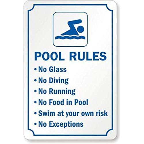 "621 Skunne Wandschild mit Aufschrift ""Pool Rules No Glass No Diving No Running No Food in Pool Swim at Your Own Risk"", Vintage-Design, farbecht, 20,3 x 30,5 cm, Metallschild für Café, Bar, Pub"