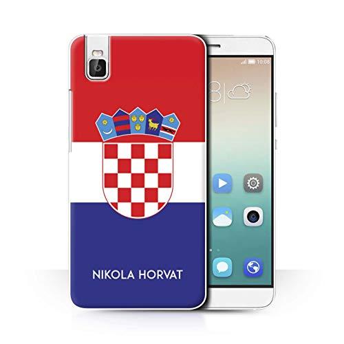 eSwish Personalisiert Persönlich National Nation Flagge 2 Hülle für Huawei Honor 7i/ShotX/Kroatien/Kroatisch Design/Initiale/Name/Text Schutzhülle/Hülle/Etui
