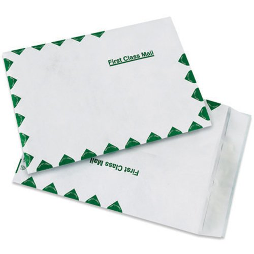 """Aviditi TYVEK Flat First Class Self-Seal Envelopes, 10"""" x 13"""", White/Green, Top Opening, Tear and Moisture Resistant Mailer, For Shipping Important Documents, Promotional Materials and Brochures, Case of 100"""