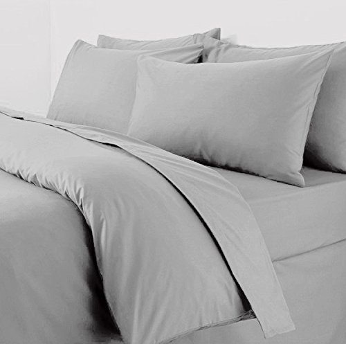 Sapphire Collection Plain Duvet Cover With Pillow Cases Non Iron Percale Quilt Cover Bedding Bedroom Set (Single, Silver)