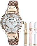 Anne Klein Women's Mesh Bracelet Watch and Interchangeable Strap Set, AK/3180RGST