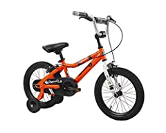 """Ultra-thick 2. 4"""" 'street style' tires Quick assembly, sturdy alloy training wheels Padded comfort saddle, featuring parent handle Rear coaster brake and front bulldog caliper brakes No-exposure chain guard Four-bolt stem with embroidered Duzy logo Q..."""