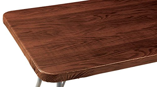 Miles Kimball Wood Grain Vinyl Elasticized Banquet Table Cover - 36' Square