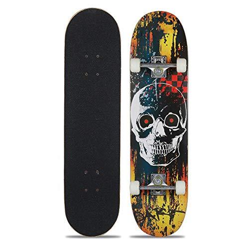 LYRONG Skateboard para Principiantes, 30 Pulgadas Patineta 7 Capas Madera de Arce Skateboard Completo Double Patada cóncava para Deportes Extremos y Exteriores,G_30inch