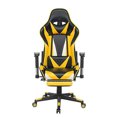 Verbessert Rückenschmerzen E-Sport-Stuhl, Game Chair Accord mit ergonomischem Design, Can Be Tilted 180 ° Verstellbare Fußstützen die Rückenlehne Widen Kann, Home Office Gemütlich ( Color : Yellow )