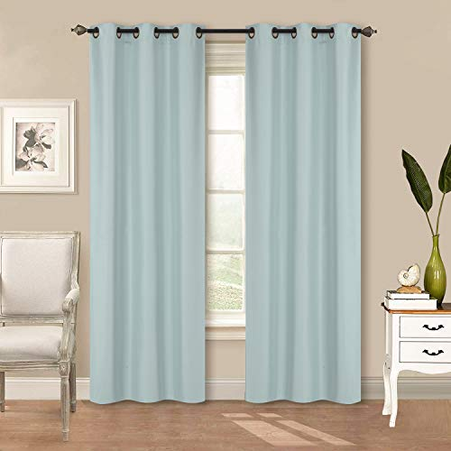 "Home Collection 2 Panels 100% Blackout Curtain Set Solid Color with Rod Pocket Grommet Drapes for Kitchen, Dinning Room, Bathroom, Bedroom ,Living Room Window New (74"" Wide X 83"" Long, Light Blue)"