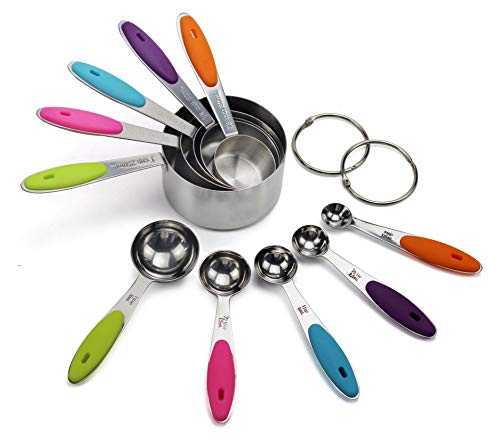 10 Pieces Stainless Steel Measuring Cups & Spoon Set, Measuring Cups and Spoons Set in 18/8 Stainless Steel,Dishwasher Safe!!