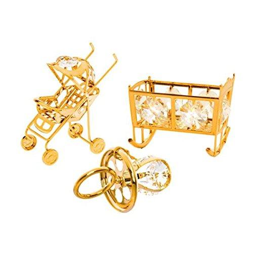 Matashi 24K Gold Plated Crystal Studded Baby Ornaments Set