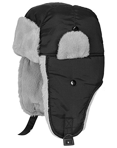 ICOLOR Winter Hats Trooper Trapper Hat with Ear Flap Chin Strap Flap Hats Skiing Cap Sport Outdoor for Men Women,Ideal for Ski Snowboard Hiking Climbing Fishing Hunting (Black)
