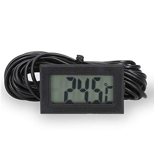 mini Thermometer Raumthermometer digital mit Fühler 10m Kabel schwarz