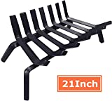 Amagabeli Black Wrought Iron Fireplace Log Grate 21 inch Wide Heavy Duty Solid Steel Indoor Chi…