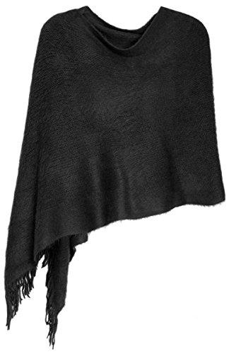 dy_mode Weicher Schal Stola Schultertuch für Damen - Elegant zu jeden Anlass - SP005 (SP005-Schwarz)