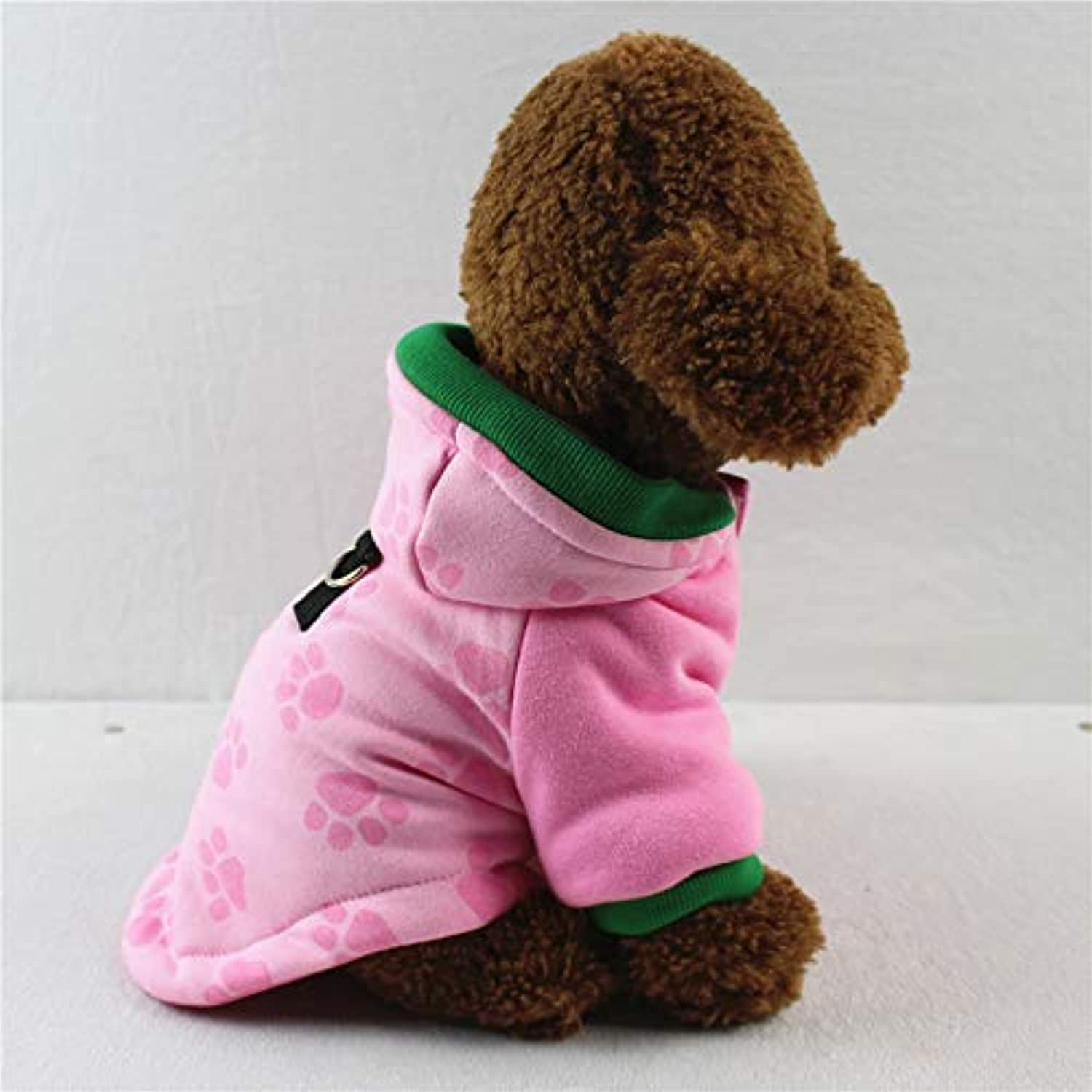 HSDDA Party Pet Costume Pet Supplies Misc Autumn and winter pet clothes thick quilted winter dog warm autumn and winter coat (color   Pink, Size   S) Pet Uniform (color   Pink, Size   L)