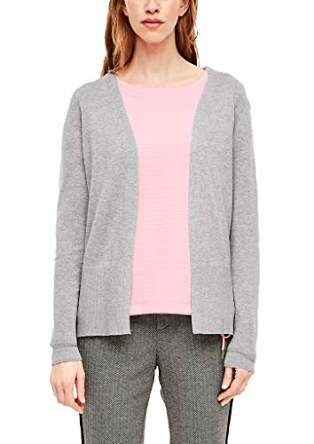 s.Oliver Damen Strickjacke in Unicolor grey melange 38
