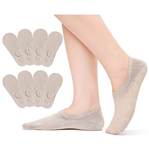 Falechay Füßlinge Damen Unsichtbare Kurze Socken Sneaker No Show Invisible Söckchen mit Rutschfestem Silkon 8 Paar Beige 39-42