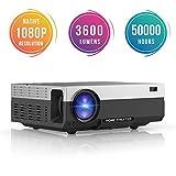 Proyector Full HD, Beamerking LED Proyector 1080P Resolución nativa de 1920 x 1080 Videoproyector Portátil 3600 Lúmenes...