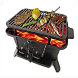 YSYDE Cast Iron Sportsman'S Grill, Large <span class='highlight'>Charcoal</span> Style Grill, Not Destroy The Barbecue Protein and Exerts The Fresh Taste of The Food, for Picnics