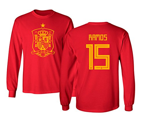 Tcamp Spain 2018 National Soccer #15 Sergio Ramos World Championship Men's Long Sleeve T-Shirt (Red, Adult Large)
