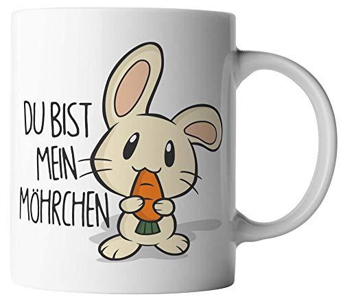 vanVerden Tasse - Du bist mein Möhrchen - Hase mit Karotte - beidseitig Bedruckt - Ostern Geschenk Idee Valentinstag mit Spruch, Tassenfarbe:Weiß