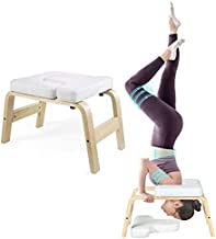 KEDY Yoga Headstand Bench, Yoga Inversion Stool for Home & Gym, Upside Down Chair for Shoulder Stand & Handstand, Wood Frame and Thick PU Pads, Relieve Fatigue and Body Building (White)