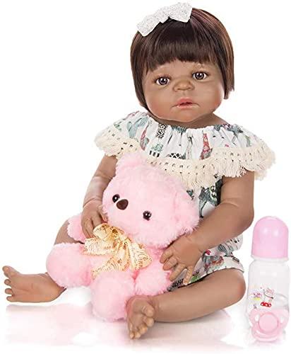 """23""""57cm Reborn Baby Dolls Vinilo Suave Silicona Piel Negra Maniquí Chicas realistas Recién Nacido Niños realistas Playmate Certificación EN71"""