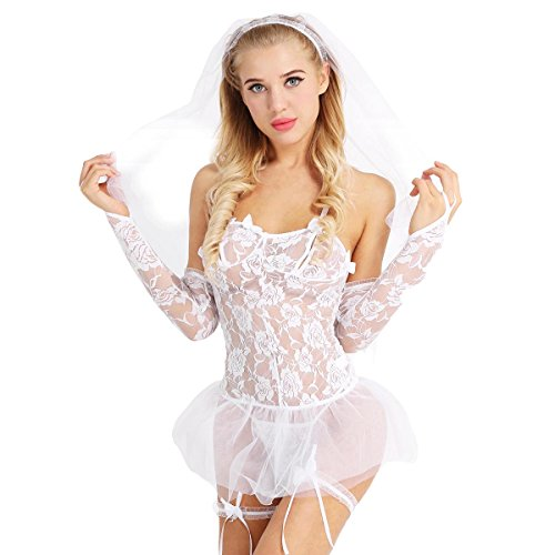 Agoky Mujer Ropa Interior Conjunto Sexy Lencería Erótica de Encaje Disfraz de Novia Conjunto de 5 Piezas Blanco Talla única