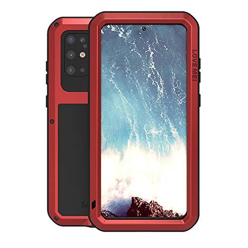 Samsung Galaxy S20 Plus Metall hülle, Powerful Hybrid Schutz stoßfest wasserdicht staubdicht Metal Hülle Cover Fall Schutzhülle,mit Eingebautem Gehärtetem Glas Bildschirmschutzfolie (S20 Plus, Rot)